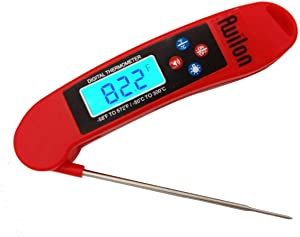 Meat Thermometer with Calibration, Instant Read Digital Thermometer Super Fast Electronic Food Thermometer with LCD Backlit for Kitchen BBQ,Grill,Tea,Candy,Batteries Included