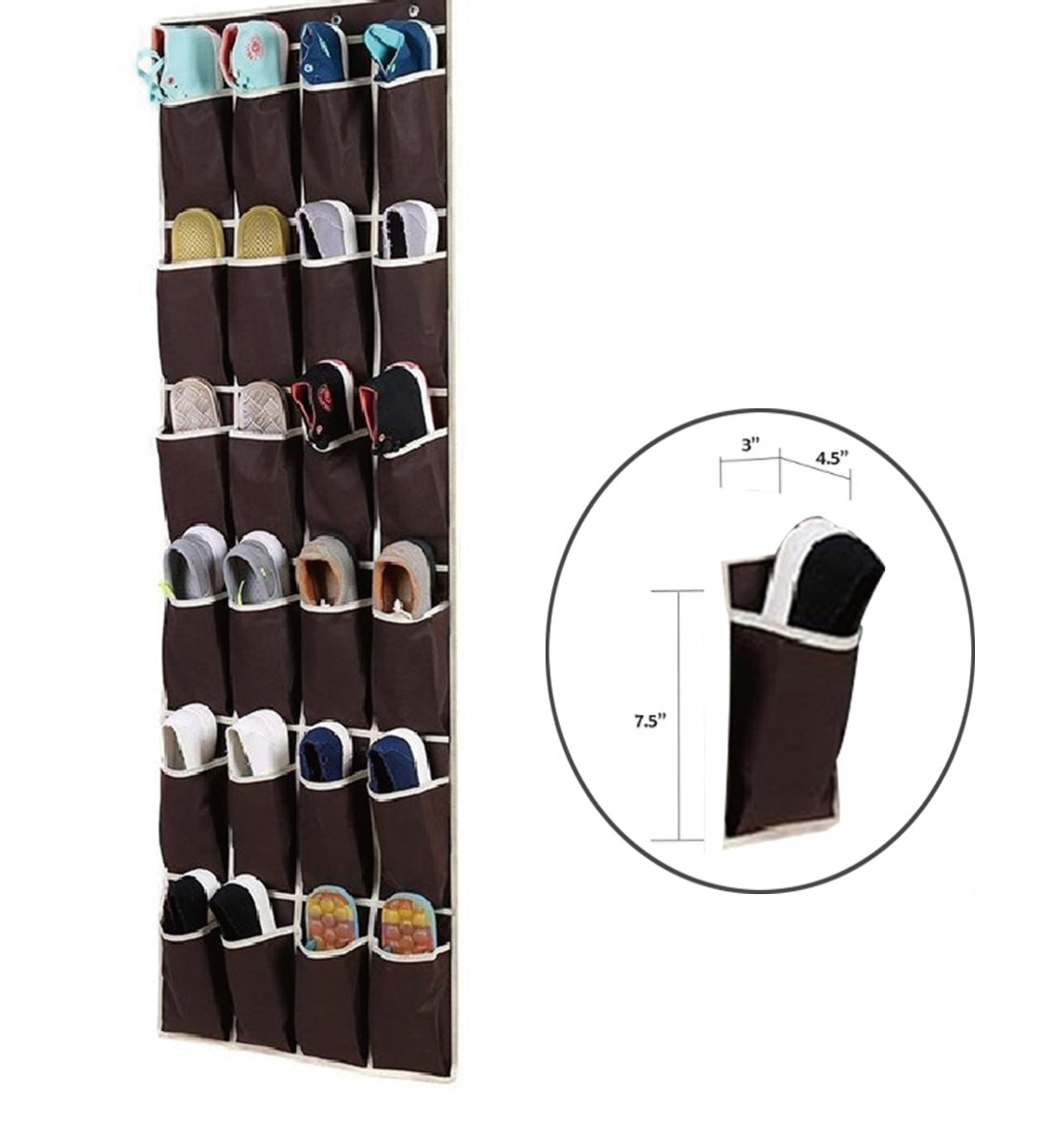 Large Size Over the Door Shoe Organizer , SunJolly 24 Pockets Hanging Shoe Storage with 4 Steel Hooks (19\
