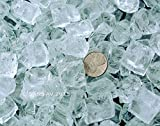 Fireplace Fire Pit Glass, Chunky ~3/4″ Clear with slight aqua tint, 40 LBS For Sale