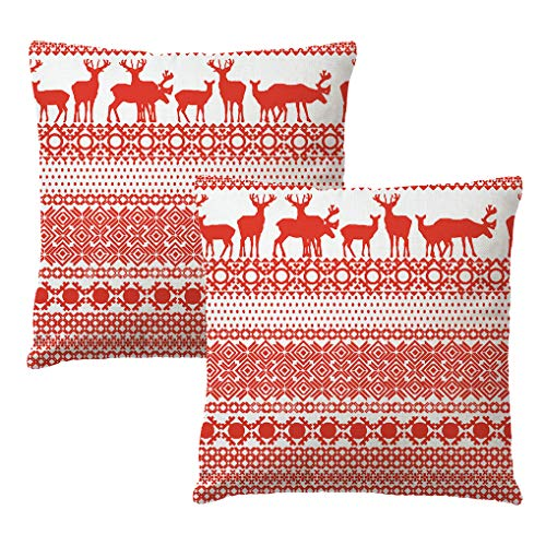 7ColorRoom Set of 2 Christmas Pillow Covers Happy Winter Red Reindeer with Modern Geometry Cushion Cover Merry Christmas Home Decorative Cotton Linen Pillowcases 18