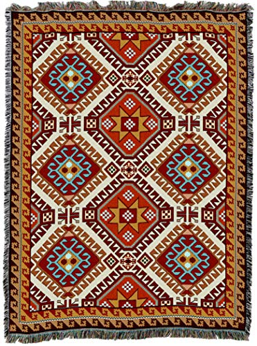 Pure Country Weavers | Kilim Southwest Blanket | Woven Throw with Fringe Cotton USA 72x54