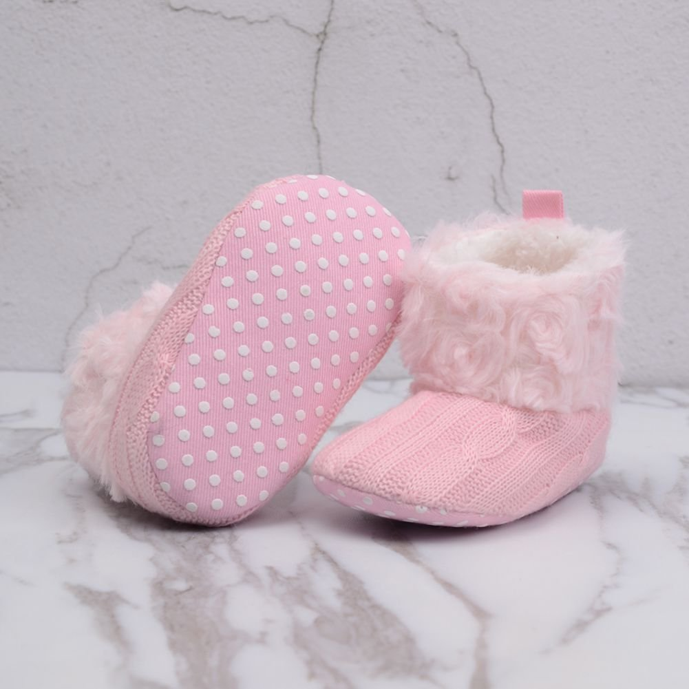 Forart Baby Boy Girls Knit Faux Fur Snow Boots Infant Toddler Crib Shoes Size 0-18 Months