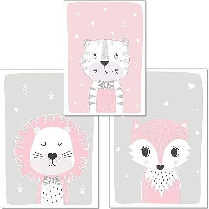 artpin® 3er Set Poster Kinderzimmer Von Künstlerin - Bilder Babyzimmer - A4  Wandbilder Deko Für Mädchen Im Skandinavischen Stil Grau Rosa - ...