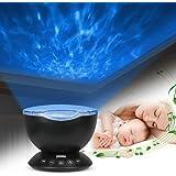 Lampe D'océan, Furado Lampe Projecteur LED, Lampe Projecteur de Vagues Océan LED, Simulation des Vagues Océan 7 Modes Veilleuse de Nuit Avec Télécommande Mini Enceinte Intégrée (Noir)