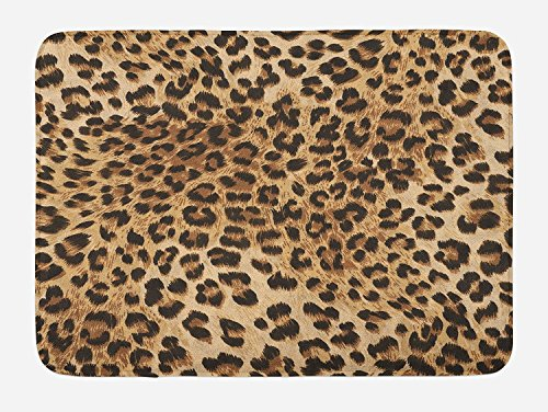 Leopard Print Bath Mat, Skin Pattern of a Wild African Safari Animal Powerful Panthera Big Cat, Plush Bathroom Decor Mat with Non Slip Backing, Pale Brown Black 16 X 24inch (Leopard Rug Bathroom)