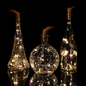HDNICEZM 6 Pack 10 LED Warm White Solar Powered Wine Bottle Lights,Mini Copper Wire Waterproof Fairy Lights,LED String Lights, Holiday Wedding Party Home Garden Bedroom Outdoor Indoor Decorations