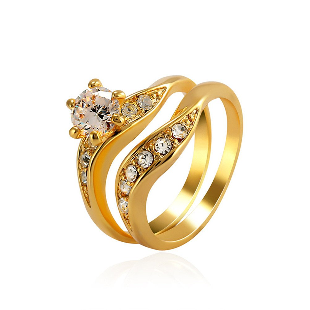 Mrsrui 925 Sterling Silver Gold-plated Engagement Wedding Couple Rings with Cubic Zirconia