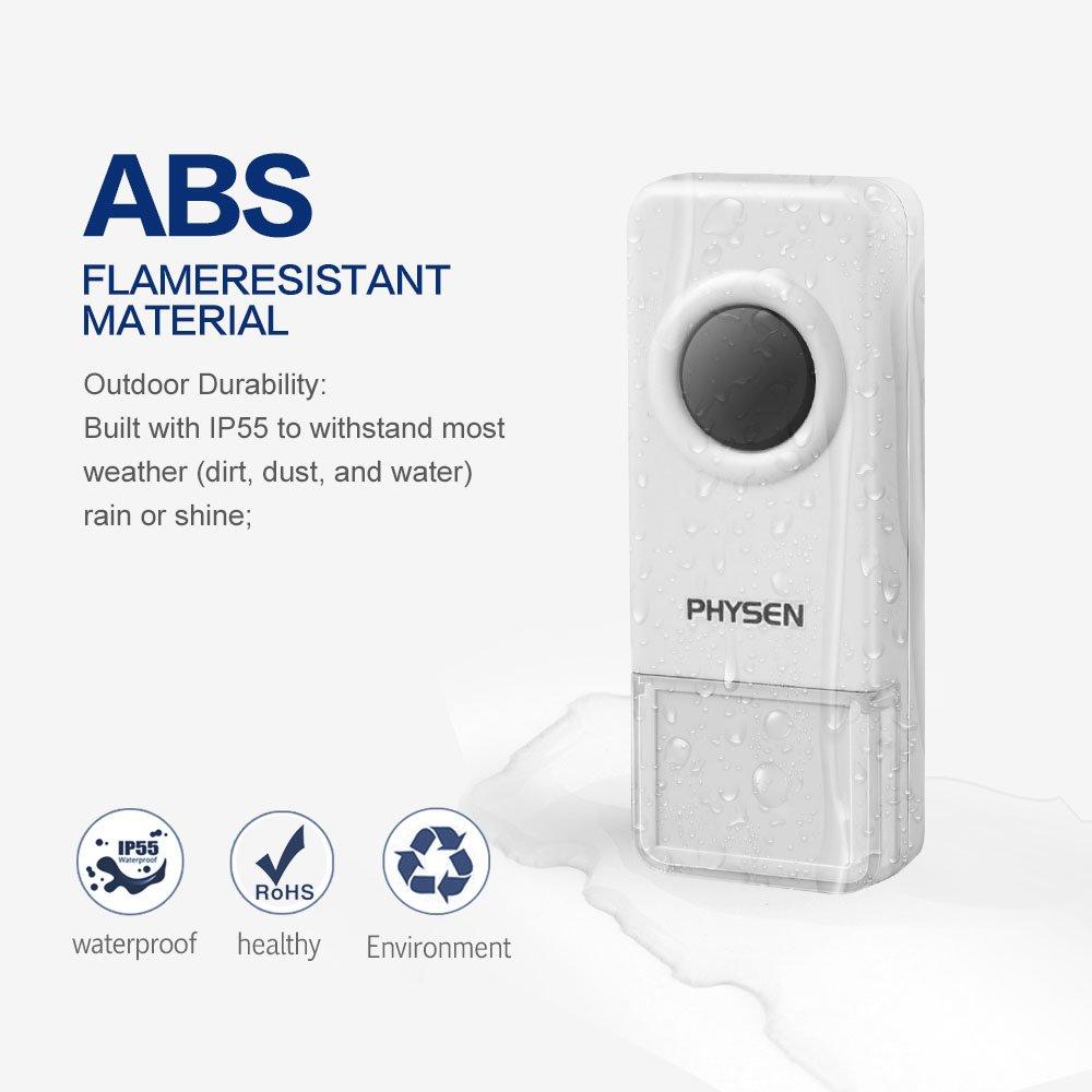PHYSEN Timbre Inal/ámbrico/ /Transmisor de mando a distancia resistente al agua pulsador color blanco