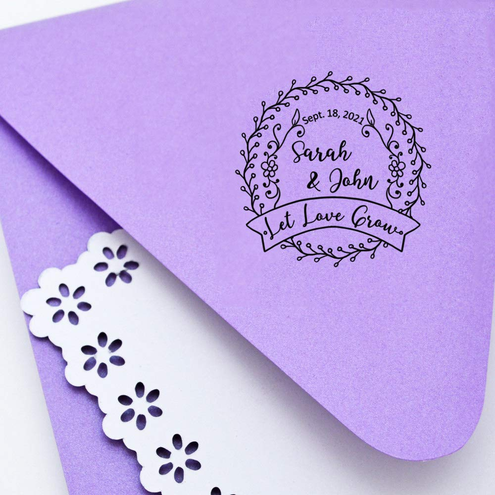 Custom Save The Date Stamp Personalized Wedding Invitation Stamps Self Inking Wreath Leaf Let Love Grow Rubber Stamper