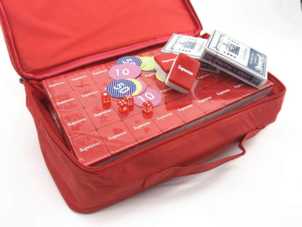 40mm + Rouge Sac souple + tapis d'origine Mah Jong Mahjong Jongg Majong Classique MéNage portable Hommesottes Mahjong 144 Feuilles portable Se RéUnir Loisir Cadeau (Box + 1m avec Nappe, 40mm + Rouge)