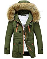 Newbestyle Men Winter Faux Fur Hooded Cotton Padded Outerwear Parka and Coats