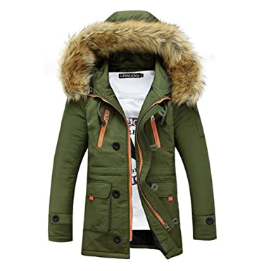 04d6f8ec8ed3 Newbestyle Mens Winter Thicken Faux Fur Hooded Down Cotton Padded Parka  Quilted Outerwear Coats Army Green