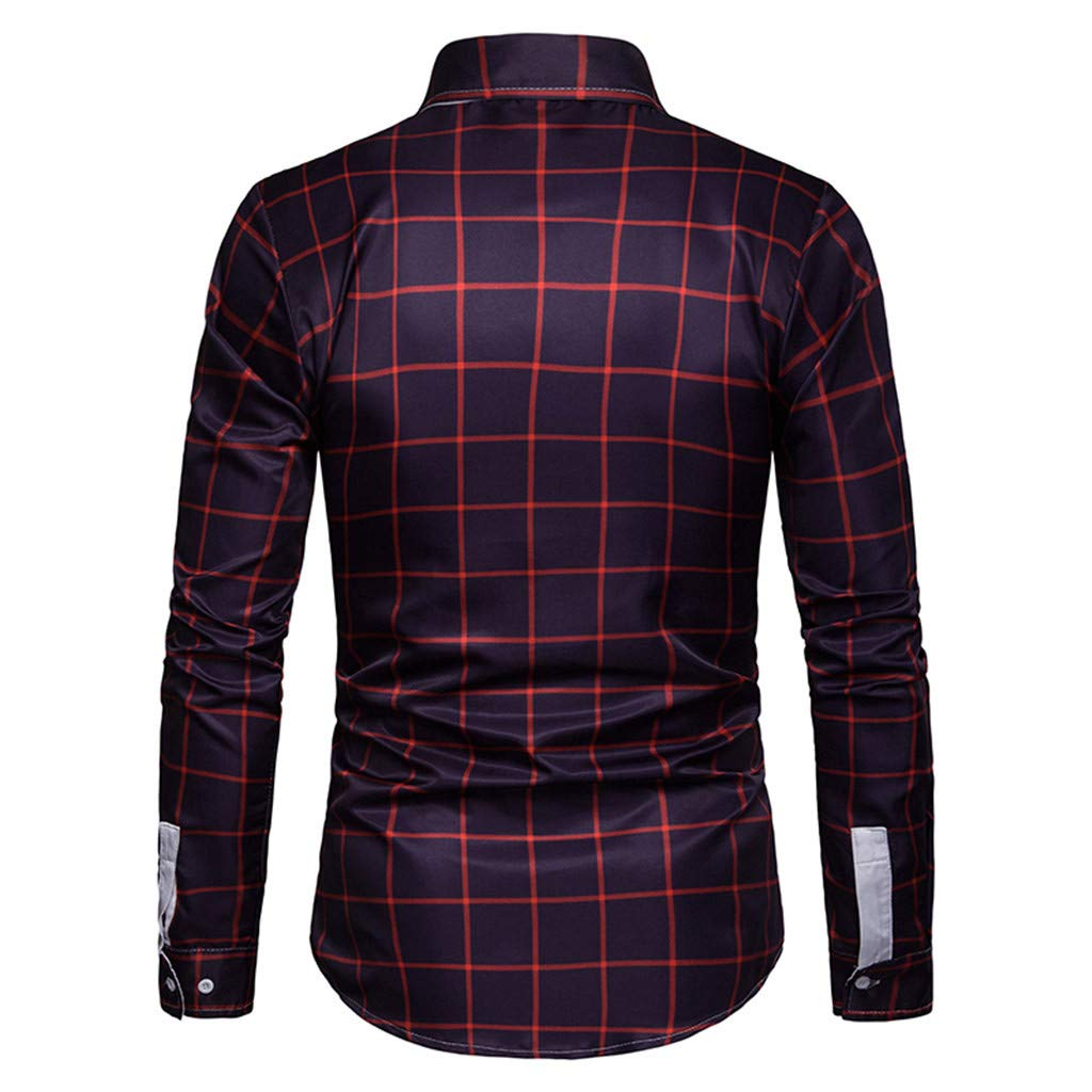 Mens Long Sleeve Plaid Checked Button Down Cotton Casual Shirts
