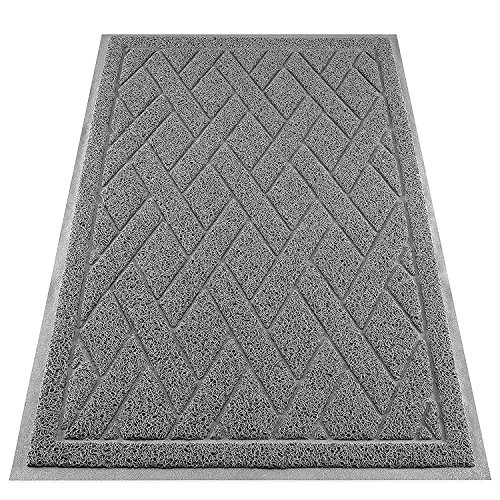 Cat Litter Box Mat Catch Litter With Mesh Mat Large Size Washable Non Slip PVC Material Protects Your Floors (Gray)