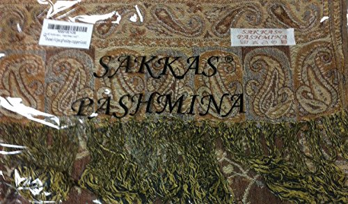 "70 x 28"" Double Layer Jacquard Paisley Pashmina Shawl / Wrap / Stole - Copper Brown / Gold"""