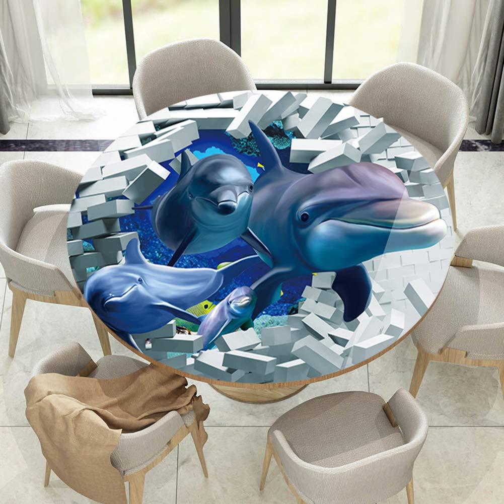 3 d 立体 ラウンド テーブル, フィギュア 防水 卓上プロテクター 反ホット ホテル ダイニングテーブル 第三者 テーブルカバー-F   B07R2KCQCK