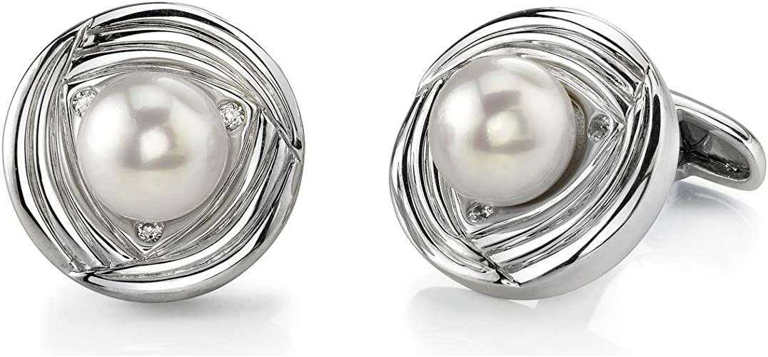 Stainless Steel For Man or Woman Pearlina White Pearl Cuff links Genuine Freshwater Cultured Pearls 10-11mm