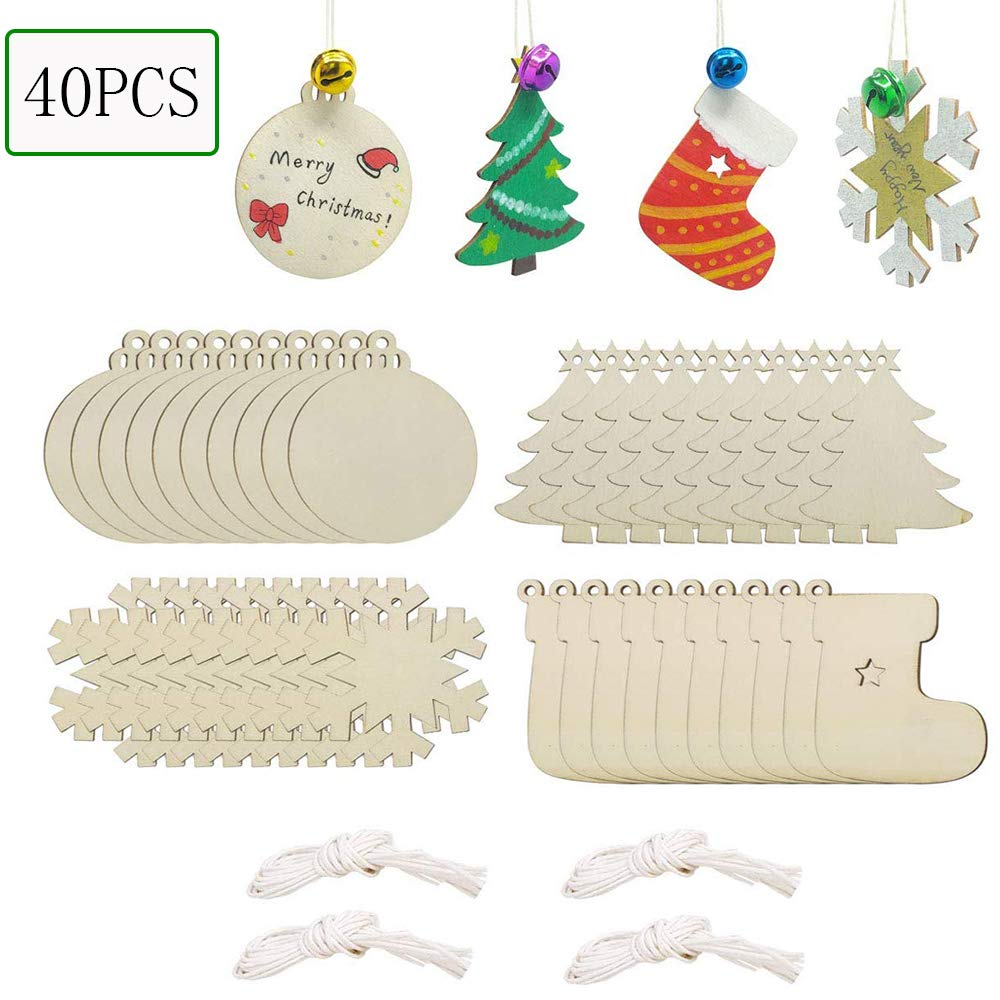 20PCS Christmas DIY Ornaments,Unfinished Wooden Ornaments Kids Christmas Crafts Christmas Tree Craft Supplies Wooden Discs with Holes for DIY Christmas Tree 20PCS Snowflake