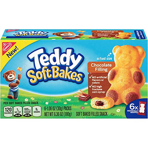 Teddy Soft Bakes with Filling, Chocolate, 6 Count (Pack of 12)