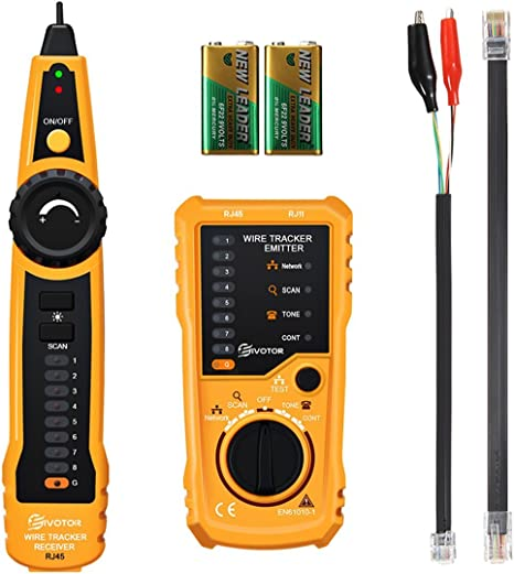 Cable Tester Meterk Network RJ11 RJ45 Wire Tracker Line Finder for Network Cable Collation Telephone Line Test Continuity Checking Adjustable Sensitivity LED Flashlight Low Battery Indication