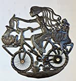 Cheap Girl in a Bicycle, Haiti Metal Art From Recycled Oil Drums, Fair Trade 32″ X 32″