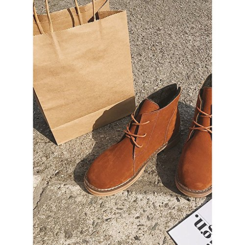 HSXZ Zapatos de mujer invierno PU botas botas de combate talón puntera redonda plana Mid-Calf botas para Casual caqui negro de almendra Khaki