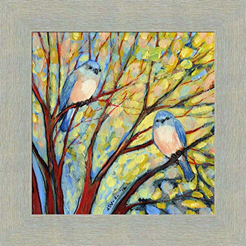Two Bluebirds by Jennifer Lommers 16x16 Blue Song Birds Perched in Tree Framed Wall Décor Art Print Picture