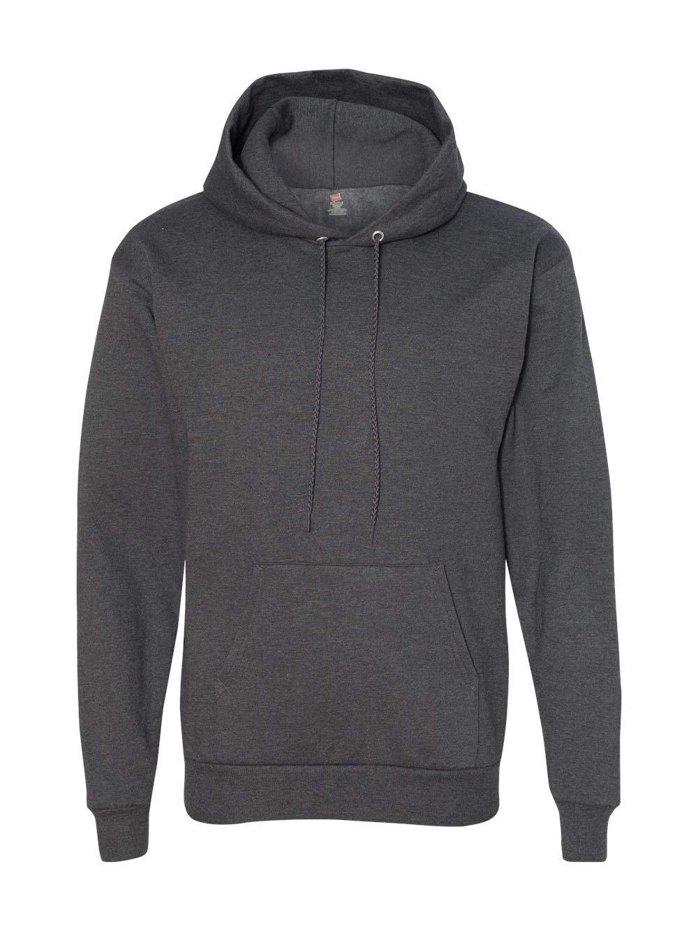 Hanes Men's Pullover EcoSmart Fleece Hooded Sweatshirt, Charcoal Heather, 4X Large