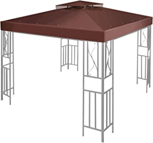 Flexzion 12' x 12' Gazebo Canopy Top Replacement Cover (Brown) - Dual Tier Up Tent Accessory with Plain Edge Polyester UV30 Protection Water Resistant for Outdoor Patio Backyard Garden Lawn Sun Shade