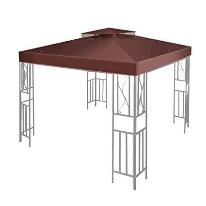Flexzion 12u0027 X 12u0027 Gazebo Canopy Top Replacement Cover (Brown)   Dual