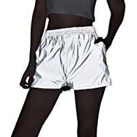 Women's Sexy Reflective Shorts Pants Shiny Sport Bottoms Night Club Party Festival Rave Outfit