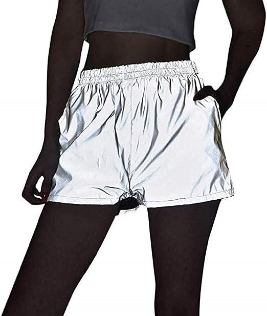 Women Shiny Reflective High Waisted Booty Shorts Hot Pants Swim Brief Dance New