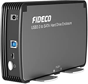 FIDECO 3.5/2.5 Inches Hard Drive Enclosure, USB 3.0 to SATA Aluminium External HDD Case Built-in Cooling Fan Support UASP and 10TB Drives for 3.5/2.5 Inches HDD SSD