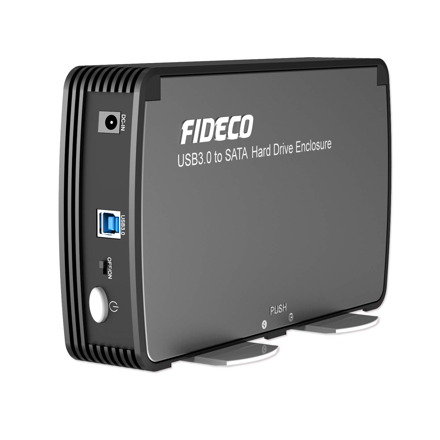 FIDECO 3.5/2.5 Inch Hard Drive Enclosure, USB 3.0 to SATA Aluminium External HDD Case Built-in Cooling Fan Support UASP and 10TB Drives for 3.5/2.5 ...