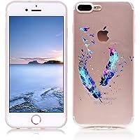 Funda iPhone 8 Plus Carcasa Protectora OuDu Funda para iPhone 8 Plus Caso Silicona TPU Funda Suave Soft Silicone Case - Pluma Colorida