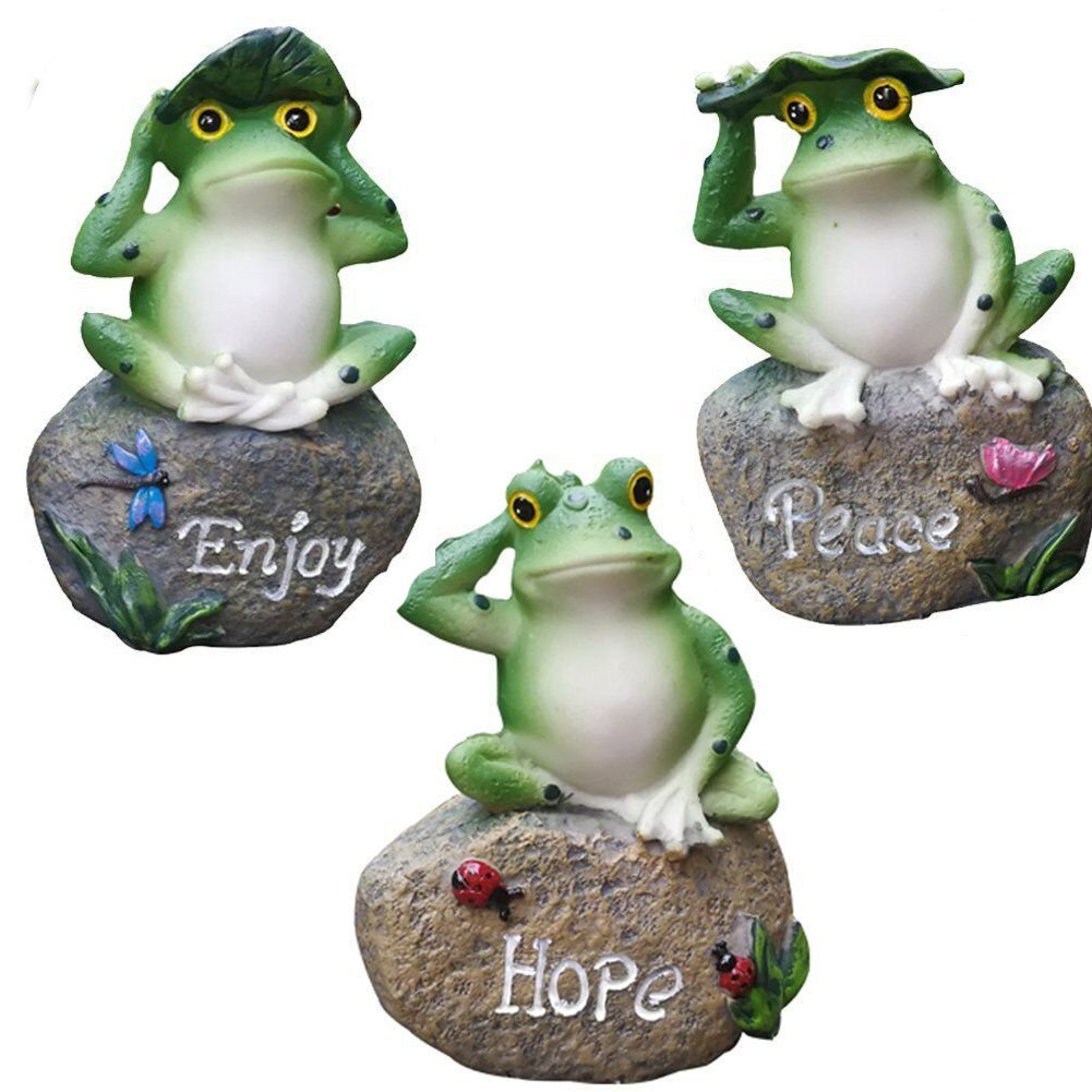 amazing kevin Garden Decor Statue Frogs Set of 3 Outdoor Patio Ornaments Yard Decorations Art Figurines for the Lawn Balcony Desk Mothers Day Gift