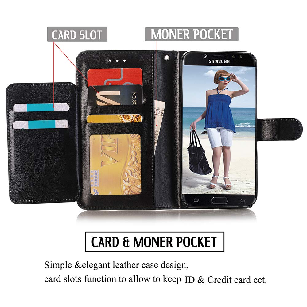 Alkax Wallet Case for Galaxy J3 2018 /J3 Achieve /J3 Star /J3 Orbit/Express Prime 3/Amp Prime 3 PU Leather Flip Cover with Card Slots Holder Stand Protective for Samsung Galaxy J3 2018 & Stylus-Black by Alkax (Image #4)