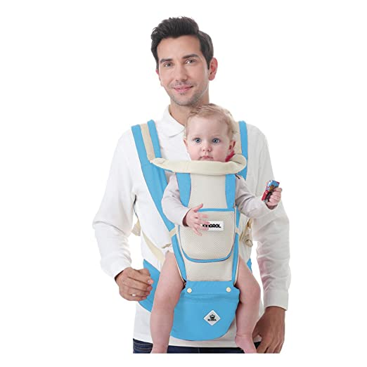 Kingrol 6-in-1 Baby Carrier with Hip Seat Front and Back Carry Positions for Infants and Toddlers,Soft and Breathable (Light Blue)