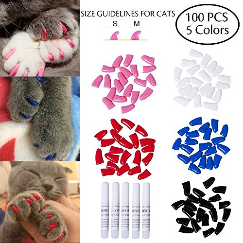 - Dollshouse 100 PCS Soft Pet Cat Nail Paws Claws Caps Cats Paws Nail Covers of 5 Kinds Different Colors and 5PCS Adhesive Glues with Instructions (S, mix)
