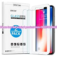 [2 Packs] OMOTON 3D Touch 0.26mm Tempered Glass Screen Protector for Apple iPhone X/XS, Clear
