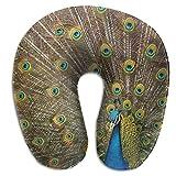 KopgLnm Peacock Bird Opening Neck Pillow Comfortable Soft Microfiber Neck-Supportive Travel Pillow for Home, Neck Pain