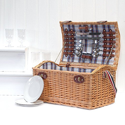 Stretford 4 Person Picnic Basket Set Hamper with Shoulder Strap - Gift ideas for Valentines, Boss Day, Christmas presents, Birthday, Wedding gifts, Anniversary