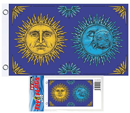 (Celestial Moon and Sun Fly Poster Flag 3ft x 5ft)