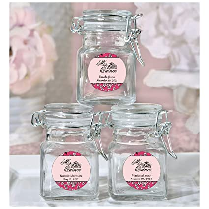 All Things Weddings Party Favor Personalized Glass Favor Jars With Lid Mis Quince Design Quinceanera Set Of 30 Pink