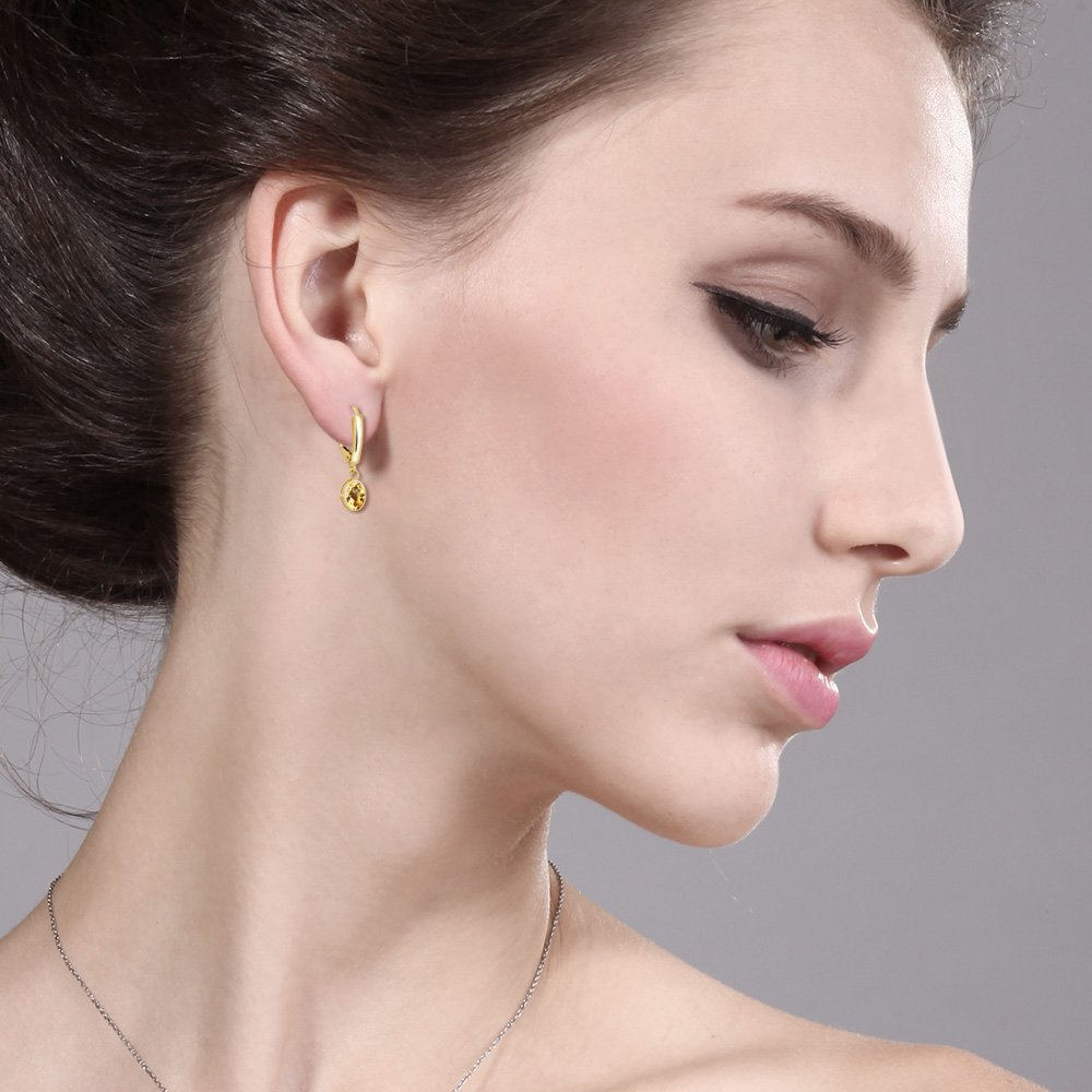 14K Yellow Gold Earrings Set with Oval Honey Topaz from Swarovski by Gem Stone King (Image #1)