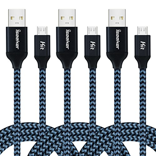 iSeeker High Charging Speed Nylon Braided Micro USB Cable for Android and Windows Smartphones - 6 Feet(1.8M), 3 Pack - Black - Nintendo Usb Usb Connector
