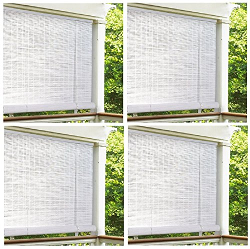 "Lewis Hyman 0320166 72"" x 72"" White Roll Up PVC Porch Patio Lanai Blind - Quantity 4"