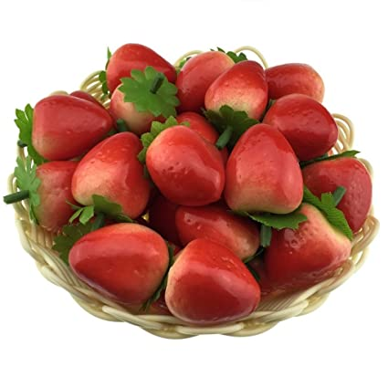 gresorth 40pcs artificial lifelike simulation small strawberry set decoration fake fruit home house kitchen decoration - Strawberry Kitchen Decoration