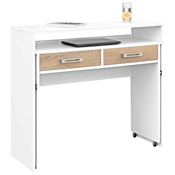 COMIFORT - Escritorio Extensible, Mesa De Ordenador, Mesas De Estudio, Consola Mueble Recibidor, Escritorios De Despacho (Blanco-Roble): Amazon.es: Hogar