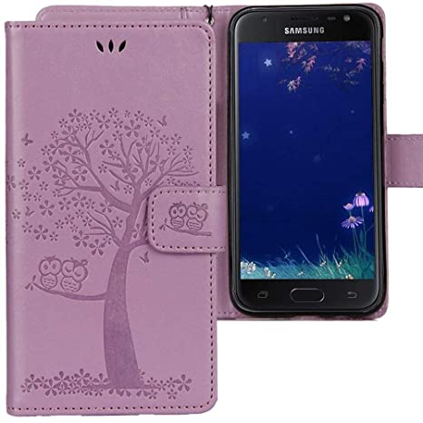 CLM-Tech Funda para Samsung Galaxy J3 2017, Carcasa Cuero sintético, Flip Case con Soporte y Ranuras para Tarjetas, Árbol búho púrpura